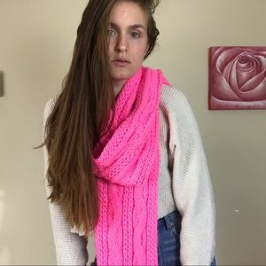 Forever21 Hot Pink Cable Knit Scarf